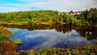 Lake Painting - Nature Landscape Work by Margaret J Rocha
