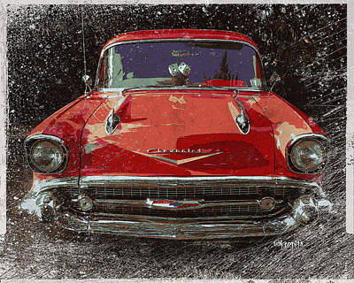 Photograph - 57 Red Chevy Classic Chevrolet Car by Rebecca Korpita