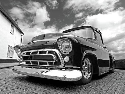 Old Chevy Photograph - 57 Stepside Chevy In Black And White by Gill Billington