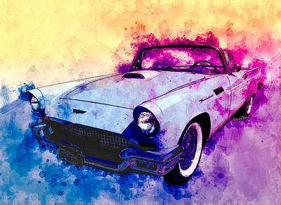 Mixed Media - 57 Thunderbird Watercolour by Chas Sinklier