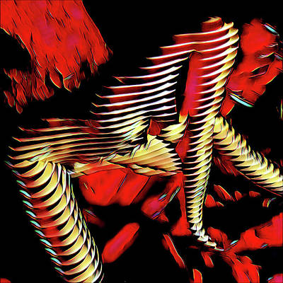 Digital Art - 5787s-mak Nude Woman Art Rendered In Red Palette Knife Style by Chris Maher
