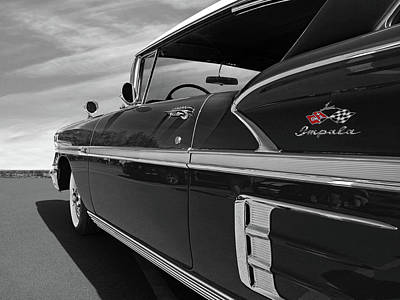 Photograph - 58 Chevy Impala In Black And White by Gill Billington