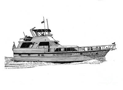 Painting - 58 Foot Hatteras Motoryacht by Jack Pumphrey