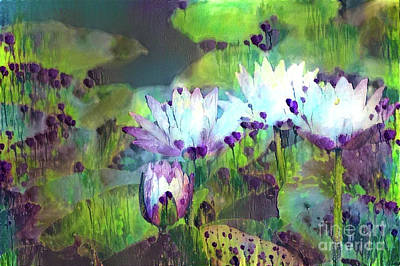 Tropical Digital Art - Jeweled Water Lilies by Amy Cicconi