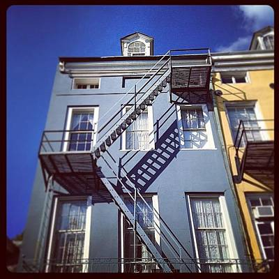 Blue Fire Escape Art Print