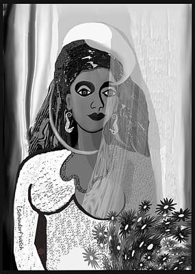 Digital Art - 582   White Bride With Earrings A by Irmgard Schoendorf Welch