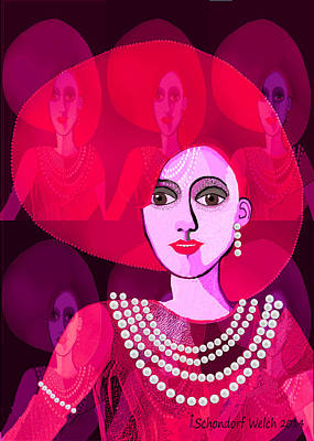 Digital Art - 589  Lady Dressed In Dark Pink 2017 by Irmgard Schoendorf Welch