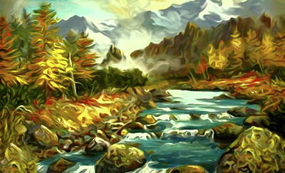 Clouds Painting - Nature Work Landscape by Edna Wallen