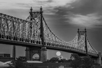 Photograph - 59 Street Queensboro Bridge Full Moon Bw by Susan Candelario