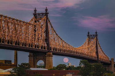 Photograph - 59 Street Queensboro Bridge Full Moon by Susan Candelario