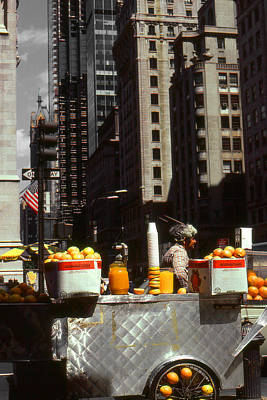 Photograph - 5th Avenue Oranges - New York Food Stand by Art America Gallery Peter Potter