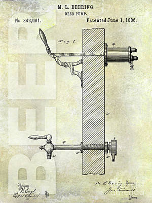 1886 Beer Pump Patent Art Print