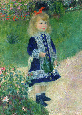Plump Women Wall Art - Painting - A Girl With A Watering Can by Pierre-Auguste Renoir