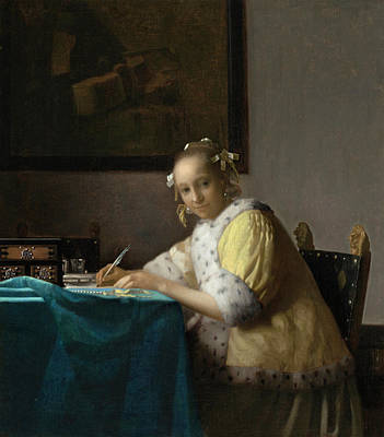 Johannes Vermeer Wall Art - Painting - A Lady Writing by Johannes Vermeer