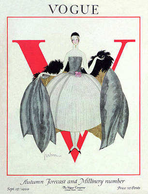 Fashion Photograph - A Vogue Magazine Cover Of A Woman by Georges Lepape