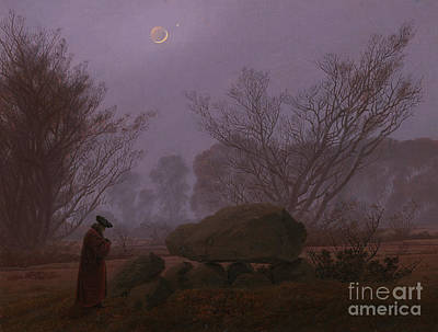 Full Moon Painting - A Walk At Dusk by Caspar David Friedrich