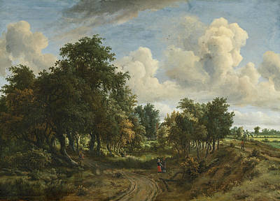 Painting - A Wooded Landscape by Meindert Hobbema
