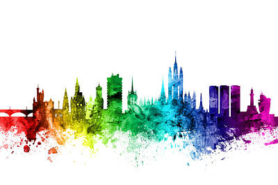 Rainbow Digital Art - Aberdeen Scotland Skyline by Michael Tompsett