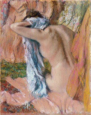 Of Nudes Painting - After The Bath by Edgar Degas