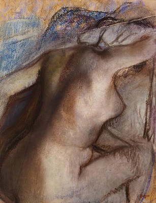 Nudes Pastel - After The Bath Woman Drying Herself  by Edgar Degas