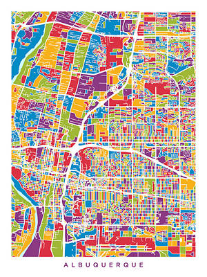 Digital Art - Albuquerque New Mexico City Street Map by Michael Tompsett