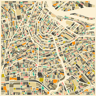 Abstract Map Digital Art - Amsterdam Map by Jazzberry Blue