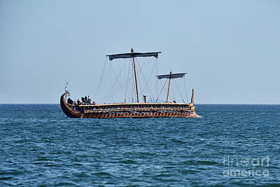 Wooden Photograph - An Ancient Trireme Underway by George Atsametakis