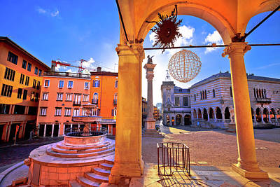 Photograph - Ancient Italian Square Arches And Architecture In Town Of Udine by Brch Photography