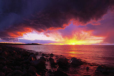 Photograph - Antelope Island Sunset by Norman Hall