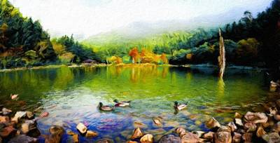 Water Painting - Art Landscape Nature  by Margaret J Rocha