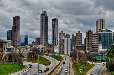 Soap Suds - Atlanta Downtown Skyline Scenes In January On Cloudy Day by Alex Grichenko