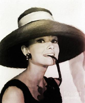 Actors Royalty-Free and Rights-Managed Images - Audrey Hepburn Hollywood Actress by Mary Bassett