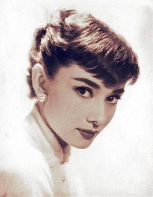 Actors Paintings - Audrey Hepburn, Vintage Movie Star by John Springfield