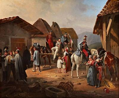 People Painting - Austrian Cavalry Resting In A Village by Albrecht Adam