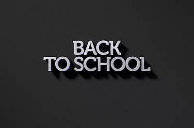 Back To School Text On Black Art Print