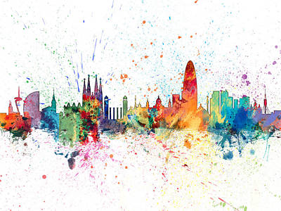 Paris Skyline Digital Art - Barcelona Spain Skyline by Michael Tompsett