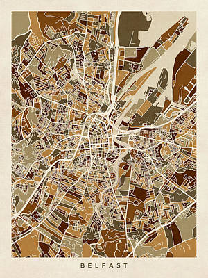 Digital Art - Belfast Northern Ireland City Map by Michael Tompsett