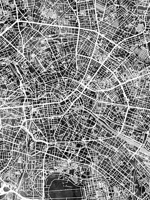 Digital Art - Berlin Germany City Map by Michael Tompsett
