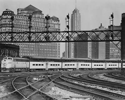 Photograph - Bilevel Train In Chicago - 1961 by Chicago and North Western Historical Society