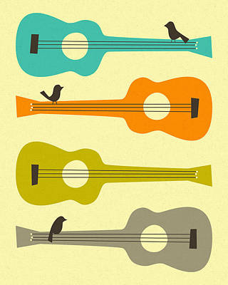 Pop Surrealism Digital Art - Birds On Guitar Strings by Jazzberry Blue