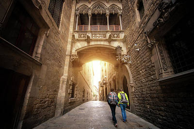 Photograph - Bridge Between Buildings In Barri Gotic Quarter Of Barcelona by Anek Suwannaphoom