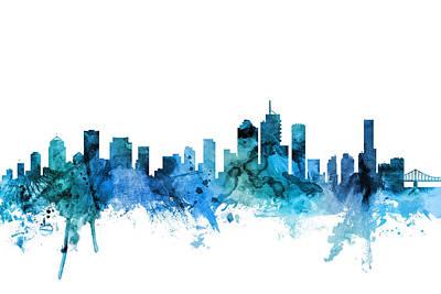 Digital Art - Brisbane Australia Skyline by Michael Tompsett