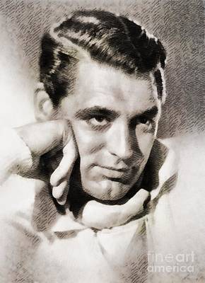 Cary Grant Painting - Cary Grant, Vintage Hollywood Actor by John Springfield