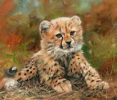 Cheetah Painting - Cheetah Cub by David Stribbling