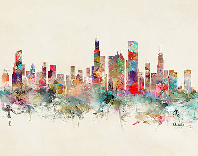 Painting - Chicago City Skyline by Bleu Bri