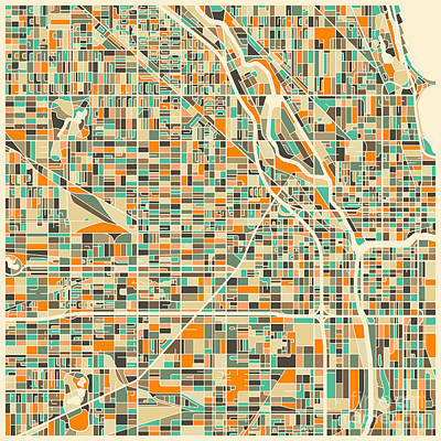 Colorful Digital Art - Chicago Map by Jazzberry Blue