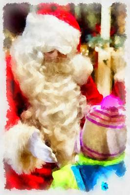 Gnomes Painting - Christmas Santa Claus by Esoterica Art Agency