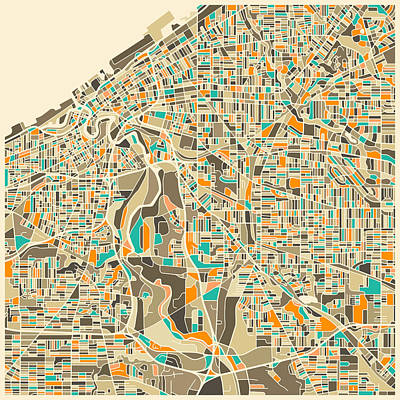 Canadian Map Digital Art - Cleveland Map by Jazzberry Blue