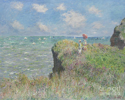 Cliff Walk At Pourville Art Print by Claude Monet
