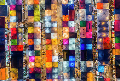 Modern Man Surf - Colourful Night Market aerial view by Pradeep Raja PRINTS